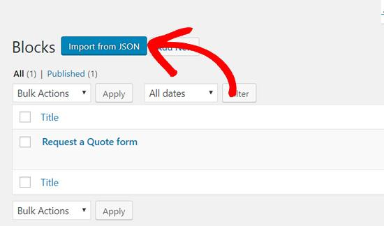 click import from json gutenberg