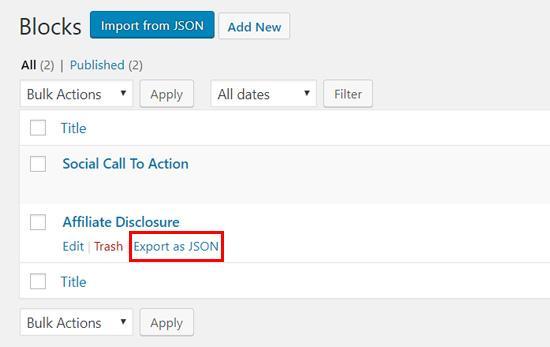 export as json file wordpress block