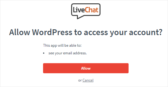allow wordpress to access livechat account netking