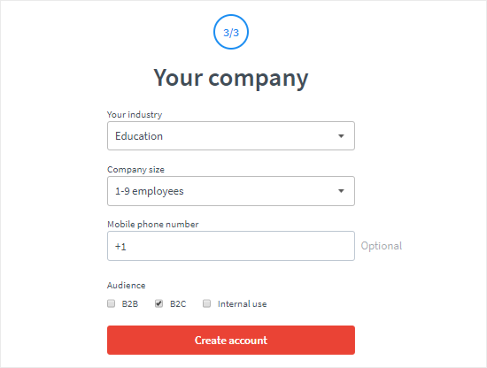 create a livechat account step three netking
