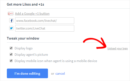 upload logo and add social links to livechat netking