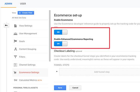 enable ecommerce ga netking