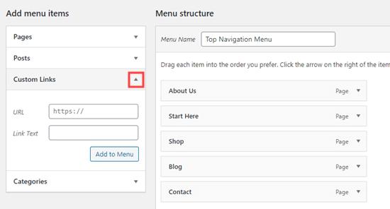 add custom link menu netking