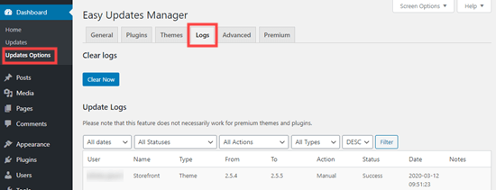 easy updates manager logs netking