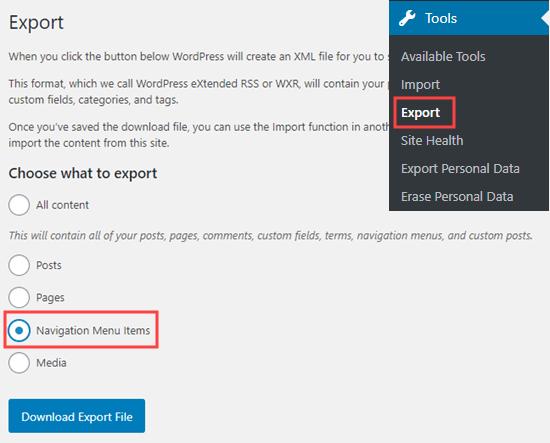 export navigation menu items netking