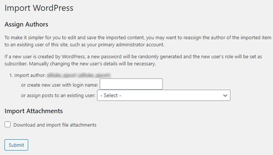 import wordpress file netking