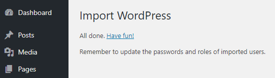 import wordpress success message netking