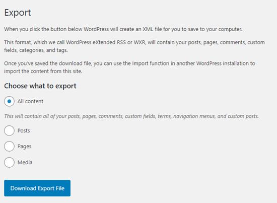 wordpress default export tools netking